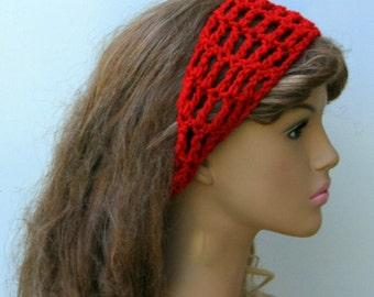 Cherry red Dread headband dreadband head hair band wrap scarf hippie crochet bandana, tie head band