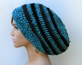 Thick teal blue Wool hat, slouchy beanie, tweed slouchy beanie hat, slouch beanie, woman beanie, slouchy hat, man beanie, crochet beanie hat