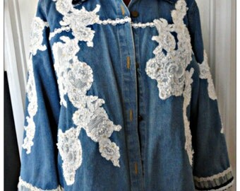 One of Kind Plus Sized Lace and Pearl Embellished Upscale Jean Denim Jacket-Wedding-Vintage Lace-Wearable Art-Boho-Country