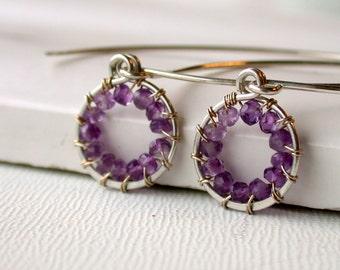 The Petite Wire Wrapped Amethyst Hoop Earrings. Small Hoop Earrings. Amethyst Hoop Earrings. Bridesmaid Earrings. Dainty