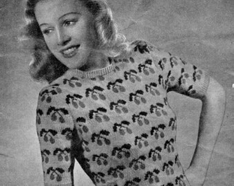 Weldons Cherry Fair Isle 1940's Vintage Knitting Pattern  pdf Instant  Download