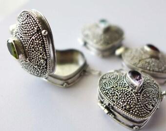 Light Purple Amethyst Sterling silver heart locket keepsake pendant Chain Necklace PL16