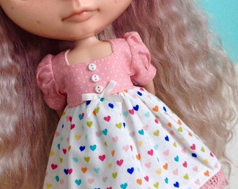 Dress for Blythe - Multicolored Hearts
