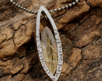 Silver teardrop necklace with rutilated quartz gemstone set in silver
