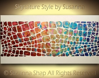 Original Large Abstract Painting Acrylic Palette knife Textured Art colorful Modern multicolored canvas 48x24 made2order by Susanna