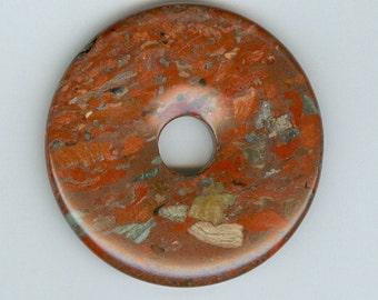50mm Red Fire Jasper Gemstone PI Donut Pendant Focal Bead Doughnut 665