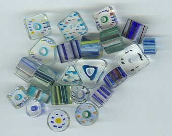 Blue and Teal Glass Beads Set 22 Mixed sizes and shapes 1155T