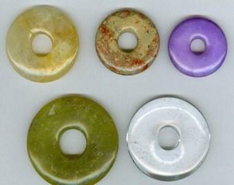 SALE Set of 5 Gemstone PI Donut Pendant Beads 32mm to 50mm Sampler set 301