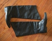 black leather tall boots / size 7