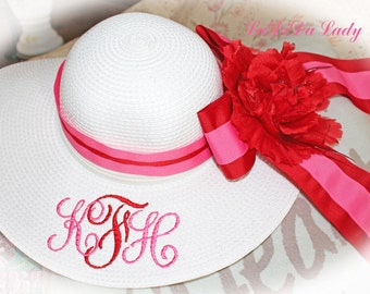 Kids Girl Child Monogrammed Floppy Hat Hot Pink Flower Girl, Wedding, Sun, Beach, Princess Party TO MATCH MOM