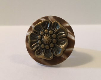 Antique Brass Bouquet - Stacked Button Ring