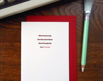 letterpress edited thank you greeting card hey, thanks! typewriter correction red & black ink on cream paper