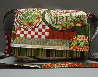 Crossbody Bag/Purse or Shoulder Carry Bag Farmer's Market Fabric