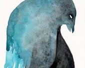 Blue Birdman Dancing / watercolour gouache original