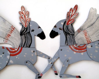 Lady Stardust / Winged Silver Plumed Horse Articulated Decoration  / Hinged Beasts Series