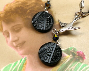 1800 Antique BUTTON earrings, Victorian black glass with flowers, birds on silver. One of a kind jewellery.