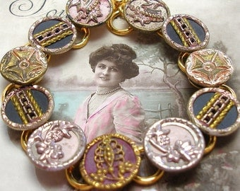 "Antique BUTTON bracelet, Victorian BUTTERFLIES & crowns, 7.5"" Buttons jewellery."