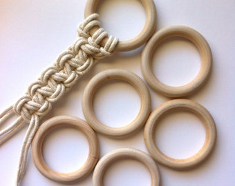 "Macrame Rings Large Unfinished Wooden Rings for Dream Catchers Jewelry Crafts Plant Hangers Wall Hangings FIVE Rings 2 5/8"" Diameter"