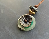 Handmade lampwork glass bead Pendant Seaform bundle by Lori Lochner artisan jewelery supplies