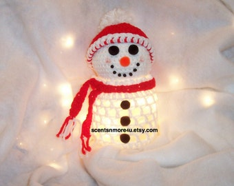 Crochet Snowman With Lights, Red And White