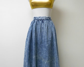 Together! . 80s vintage acid washed denim full skirt . size 12M / missy . waist 28""