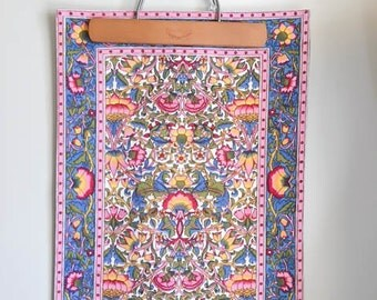 Pretty Vintage 60s 70s Pink Blue Mod Floral Table Mat Wall Hanging Art
