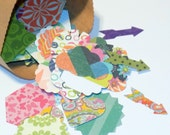 100 SMALL Paper Die Cuts for DIY Embellishments Various Shapes Paper Punches Bright Prints