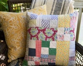 Vintage Quilt & Blue Ticking Pillow - Patchwork Pillow - Multi Country Quilt Pillow - Farmhouse -Firm Insert