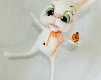 The carrot Ooak needle felted art doll