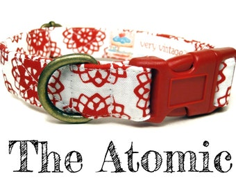 "White Red Science Atomic Dog Collar - Organic Cotton - Antique Brass Hardware - ""The Atomic"""