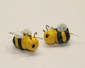Bumble Bee Earrings with Button Wings