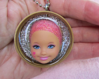 Hearts - upcycled Little Kelly face Pendant
