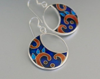 Cloisonne enamel, silver earrings