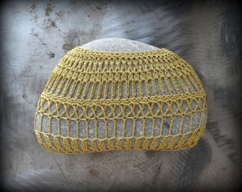 Crocheted Lace Stone, Original, Handmade, One of a Kind, Table Decoration, Harvest Gold, Unique, Monicaj