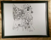 Witches, ritual, ladies , fashion, illustration, fantasy, magic, comics, black and white, pen and ink, dame darcy