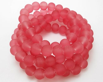 50 Hint Of Red Matte Sea Glass Beads 8mm frosted beach glass round (H5012)