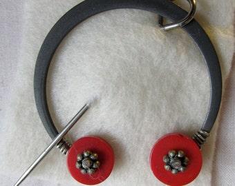 Penannular Brooch Shawl or Kilt Pin w/ red coral disc finials