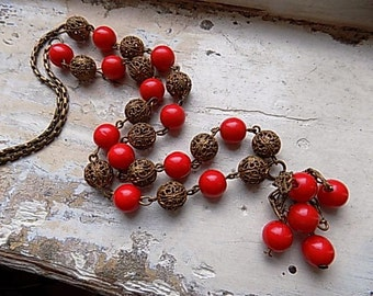 FREE SHIPPING Vintage Red and Gold Beaded Necklace with Tassel Pendant