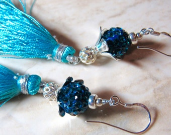 Teal Turquoise Blue Pave Crystal Stone Silk Tassel Sterling Silver Earrings