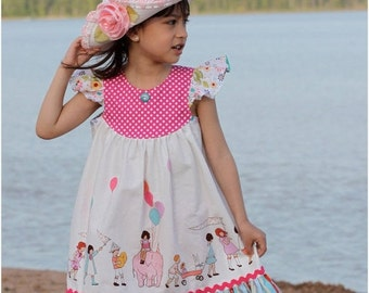 30% OFF Girls Dress Pattern with Flutter Sleeve - How to Sew the Butterfly Dress PDF Sewing pattern