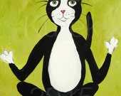 Yoga Cat Painting - Tuxedo Cat Painting - Tuxedo Cat Doing Yoga - Original Painting - Gift for Her