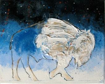 Buffalo Painting - Small Original 8x10  Painting - Pop Art Buffalo - Bison painting - Blue and White - Buffalo NY - Buffalo Gift