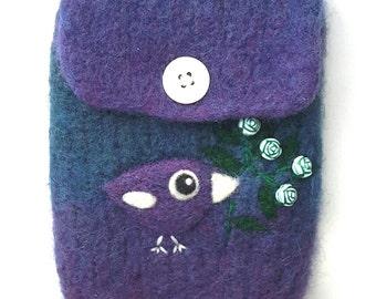Blue purple violet wool pouch bag purse cellphone cozy needle felted purple birdie bird roses