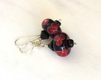 Black Lampwork Earrings, Halloween Earrings, Fiery Flower Earrings, Orange and Black Earrings, Art Glass Earrings, Glass Flower Bead Dangles