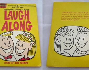 Vintage 1963 paperback book, Laugh Along by John Norment, Cartoon illustrations, humor, funny jokes
