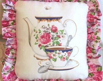 Antique Teapot and Teacup Pillow