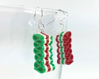 Ribbon Candy Earrings - Christmas Earrings - Red, White & Green Holiday Earrings - Handmade, Polymer Clay - Ready to Ship - RC142