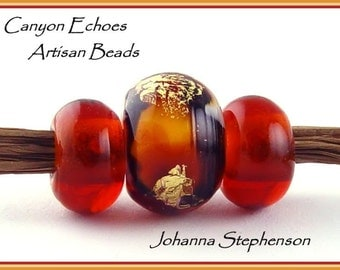 BIG HOLE Golden Tiger Lampwork Beads by Canyon Echoes