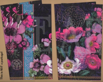 PN031 Set of 4 Paper Napkins by Blue Ink Studios ~ 4.5 x 8 ~ Beautiful Botanical Collage 'Flowers & Flutters' Pink Flora and Butterflies