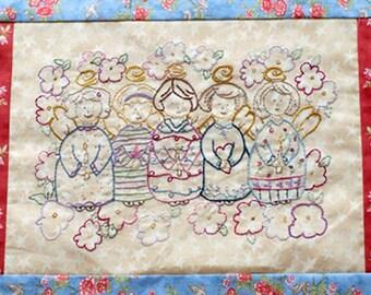 Folk Art Angels PDF Hand Embroidery Pattern Instant Digital Download